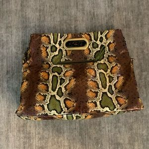 Big Buddha Faux Snakeskin Purse
